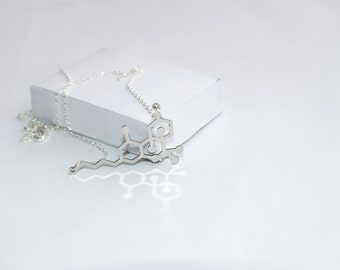 THC Molecule necklace! chemistry jewelry ! chemistry necklace! molecule necklace ! Sterling silver chain