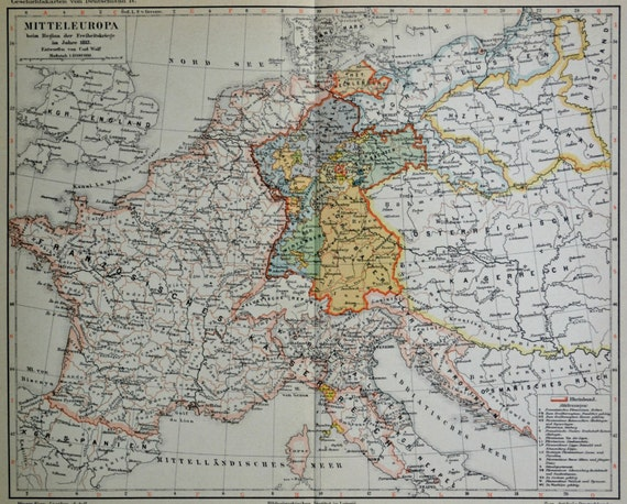 Mitteleuropa map in the 19th century. Old book plate, 1890. Antique illustration. 124 years lithograph. 9'4 x 11'7 inches.