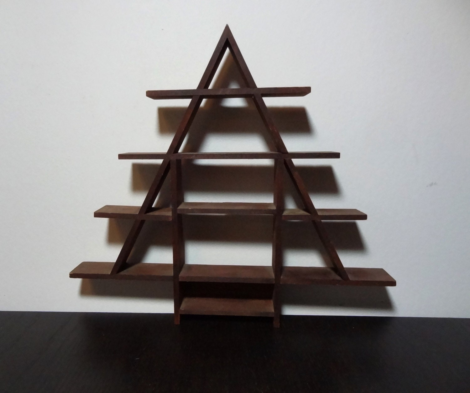 Vintage Wooden Interlocking Christmas Tree Display Shelf For