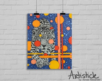 Jaguar Art Print - Wild Animal Art - Boys Room Decor - Blue Orange Art - Kids Room Artwork - Big Cat Art - Jungle Decor - Safari Art Print