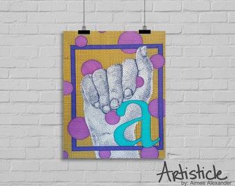 Letter A Print - Monogram A Art - Sign Language Art - Hand Drawing - Alphabet Letter A - Modern Nursery Art - Geometric Art - Yellow Print