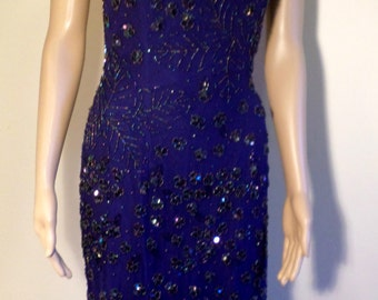 Vintage 90's Sexy Royal Blue Silk Beaded Gown Fully Lined W/ Plunging Back By Sean Collection Size Small/Medium/Drag Queen SALE