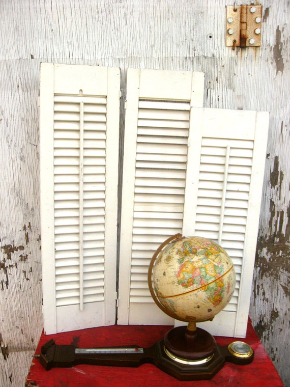 Wooden Louvered Window Shutter Cottage Shabby By Junkbirdcreative