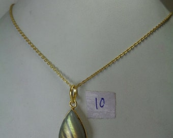 Sale - Natural Labradorite Gold Pendant with Chain, 14.5 ct. Pear Shaped Necklace