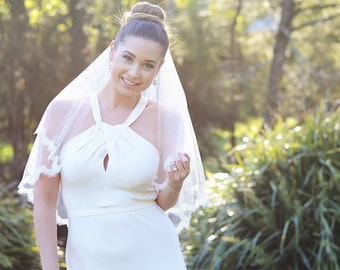 Lace veil, blusher veil with lace, two tier veil, wedding veil, bridal veil, tulle veil, ivory veil, elbow length veil with corded lace trim