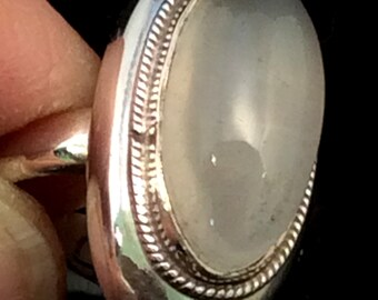 Size 8 Sterling Silver Ring. Moonstone, free US ship