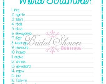 Bridal Shower Word Scramble Game TURQUOISE -Fun, Detailed, & Cute!