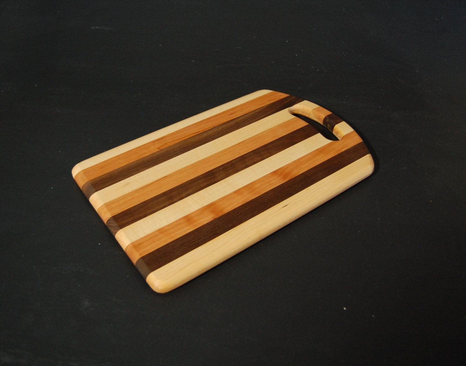 Striped Wooden Cutting Board With Handle Hardwood Handmade