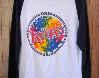 Vintage The KInks One For The Road Raglan T-Shirt 1980 USA Tour Anvil Athletic Label Tag Concert