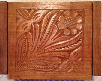 """HAND CARVED BOX is a Small 4 1/2"""" x 3 1/2"""" x 1 1/2"""" Wooden Keepsake Box, Treasure Box or Trinket Box with a Pretty Hand Carved Floral Design"""