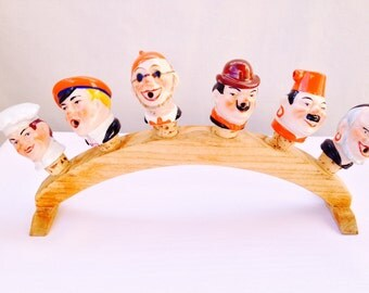 Vintage German Porcelain Figure Wine Cork Stoppers with Stand - Groomsmen Gift, Unique Housewares