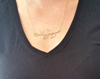 Gold Tree Branch Necklace   Gold Leaf Necklace   Gold Leaf Branch   Leaf Necklace   Gold Leaf   Nature Jewelry   Handmade Leaf Necklace