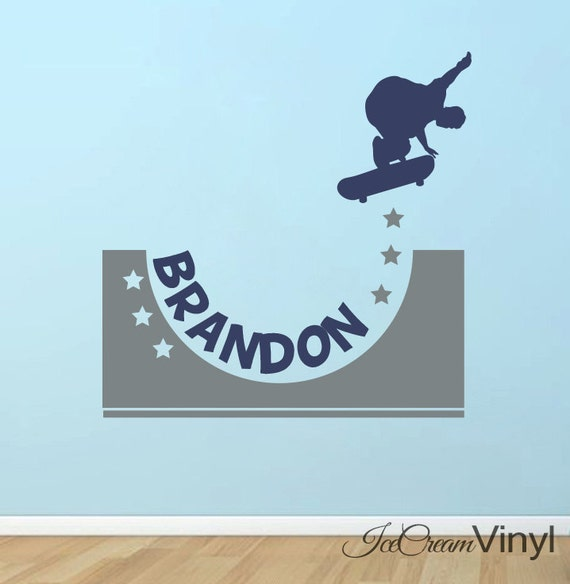 Skateboard Wall Decal with Name for Boys Xtreme Sports Vinyl Wall Decor Childrens Decor -Boy's Room- Vinyl Lettering Girl's Room