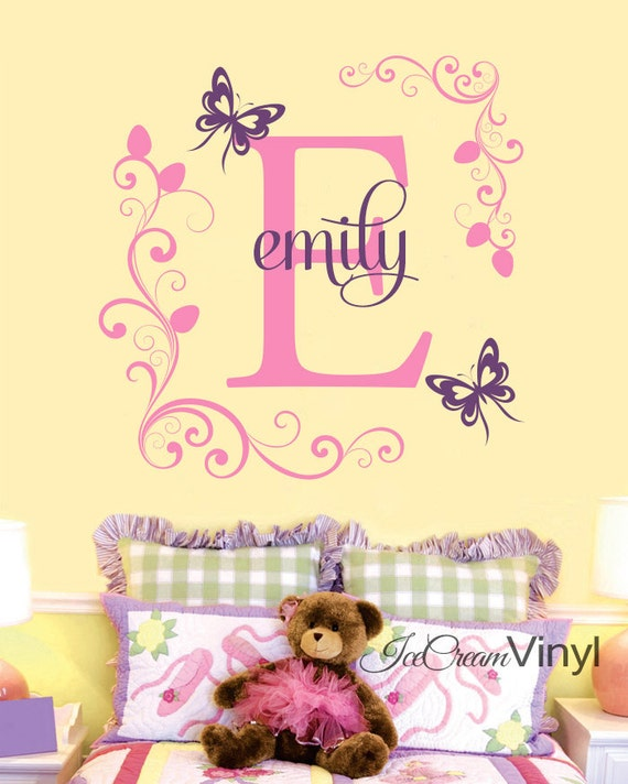Butterfly Flower Name Wall Decal for Girls Boys Nursery Bedroom Playroom Personalized Initial Childrens Decor