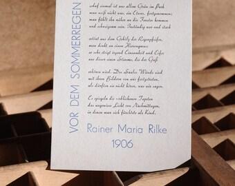 Postcard «Before the summer rain» (Rilke), letterpress, lead-type on grey cardboard