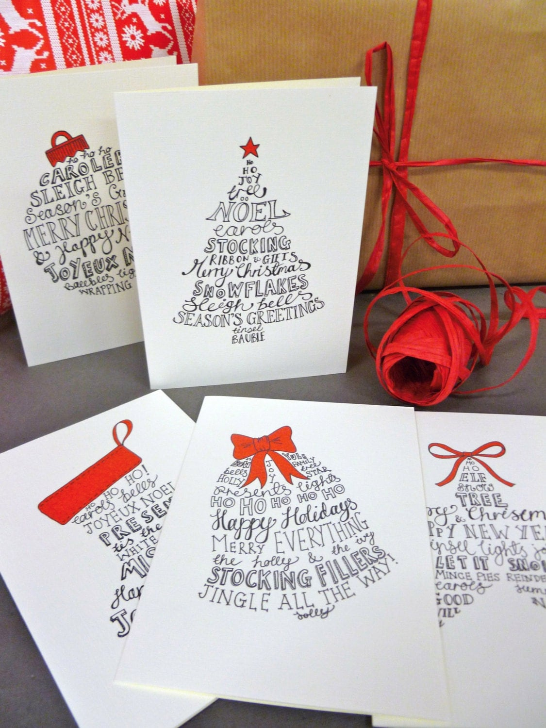 10 Hand-lettered Christmas card pack with five festive designs