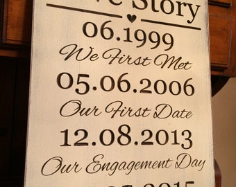 "Personalized Carved Wooden Sign - ""Our Love Story"" - 13x20, Wedding"