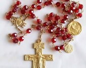 Rosary - Chinese Crystal Saint Mary Magdalene Rosary - 18K Gold Vermeil