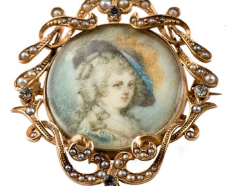 14k pearls, paste & miniature painting brooch or pendant