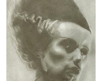 Bride of Frankenstein Art Print by Colin Richards (7.5x9.5 inch Digital Print on 8.5x11 cardstock, unframed) Universal Monsters Horror Art