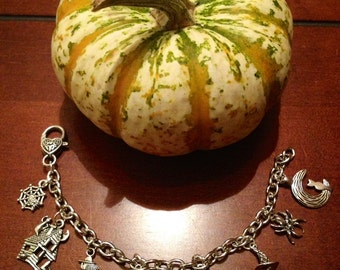 Halloween Charm Bracelet With Ghost, Witch, Pumpkin, Spider, and Cat