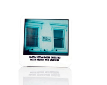 Sherlock Holmes Coaster in style of Vintage Polaroid featuring Quote and Photograph of 221b Baker Street