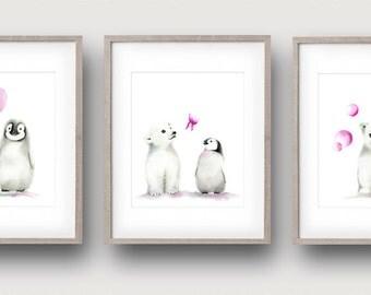 Penguin Nursery, Polar Bear Art, Arctic Animals, Baby Girl Art, Pink Nursery, Childrens Wall Decor, Painting, Baby Animals
