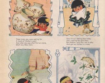 "Original Good Housekeeping cartoon ""Canyon Kiddies"" by James Swinnerton 1930s, 8x11 in. - Kids 686"