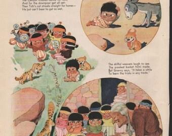 "Original Good Housekeeping cartoon ""Canyon Kiddies"" by James Swinnerton 1930s, 8x11 in. - Kids 742"