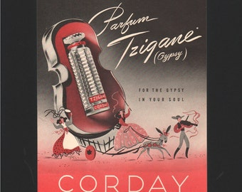 Vogue magazine ad for Corday Parfum, Tzigane (gypsy), perfume, matted - Beauty0264