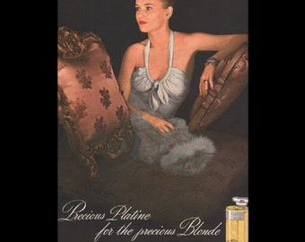 Vogue magazine ad for Precious Platine for the precious Blonde, perfume by Dana, matted - Beauty0287