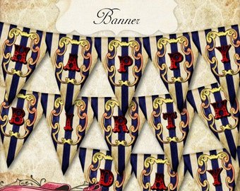 Circus Banner, Carnival Bunting, Circus Birthday Party, Printable Banner, INSTANT DOWNLOAD