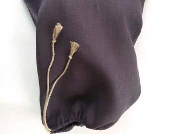 Bread bag navy blue linen bag - Natural linen - Reusable bag - Bread bags