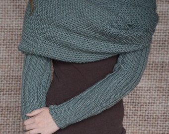 Knitting Pattern - Sleeve Scarf Sweater Wrap - Instand Download PDF