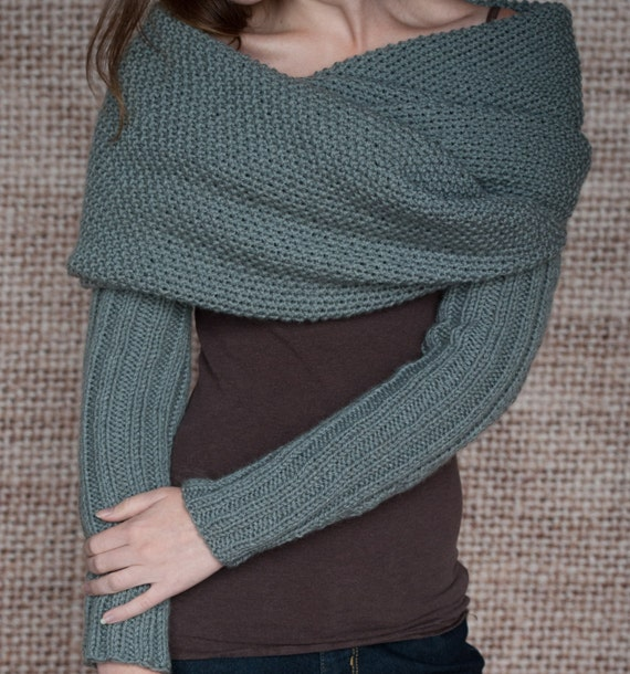 Knitting Pattern Scarf With Sleeves : Knitting Pattern Sleeve Scarf Sweater Wrap Instand
