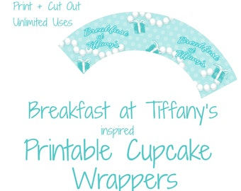 1 Printable Breakfast at Tiffany's Cupcake Wrapper Template for birthdays, parties  - Download & Print