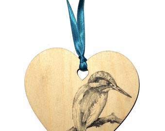 Kingfisher bird home decoration, Unique hand drawn wooden heart gift, Coloured ribbon, Personalised with name, Hanging heart decoration.