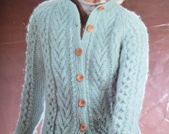 PDF cable cardigan jacket knitting pattern INSTANT download pattern only pdf