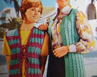 Womens vintage crochet pattern crocheted sleeveless cardigan and shortie pdf INSTANT download pattern only 1970s waistcoat