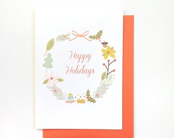 Happy Holidays card, Holly Wreath