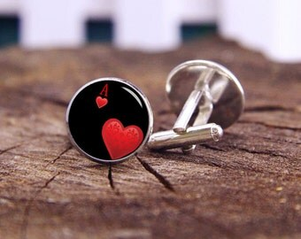 Heart A Cufflinks, Poker Cufflinks, Personalized Cufflinks, Custom Playing Cards Cufflinks, Wedding Cufflink, A Heart Tie Tacks, Poker Card