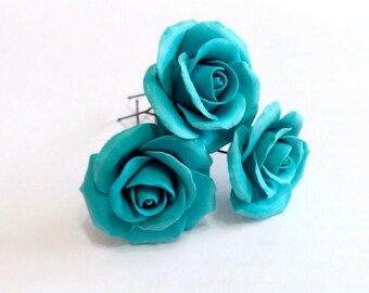 Turquoise roses large rose, Wedding Hair Accessories, Bohemian Wedding Hairstyles Hair Flower, Turquoise wedding, Hair clips flowers - Set