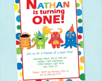 Monster Birthday Invitation {Digital File} Monsters | Little Monsters First Birthday Monster Party