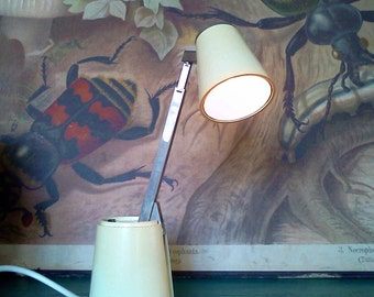 "Retro German 1960s telescopic lamp ""Lampette"", compact, swivel, articulated reading lamp, bedside light, task lamp."