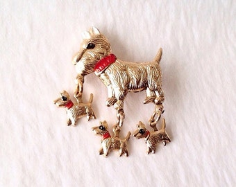 Scottie and Puppies Articulated Pin, Brooch, Dig Pin Jewelry