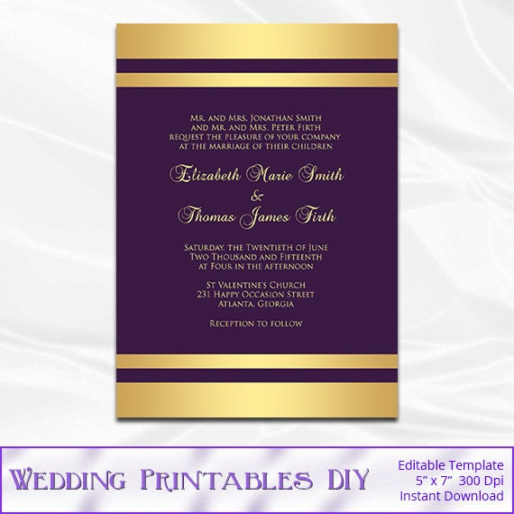 Purple and Gold Wedding Invitation Template Gold Foil Stripe – Gold and Purple Wedding Invitations
