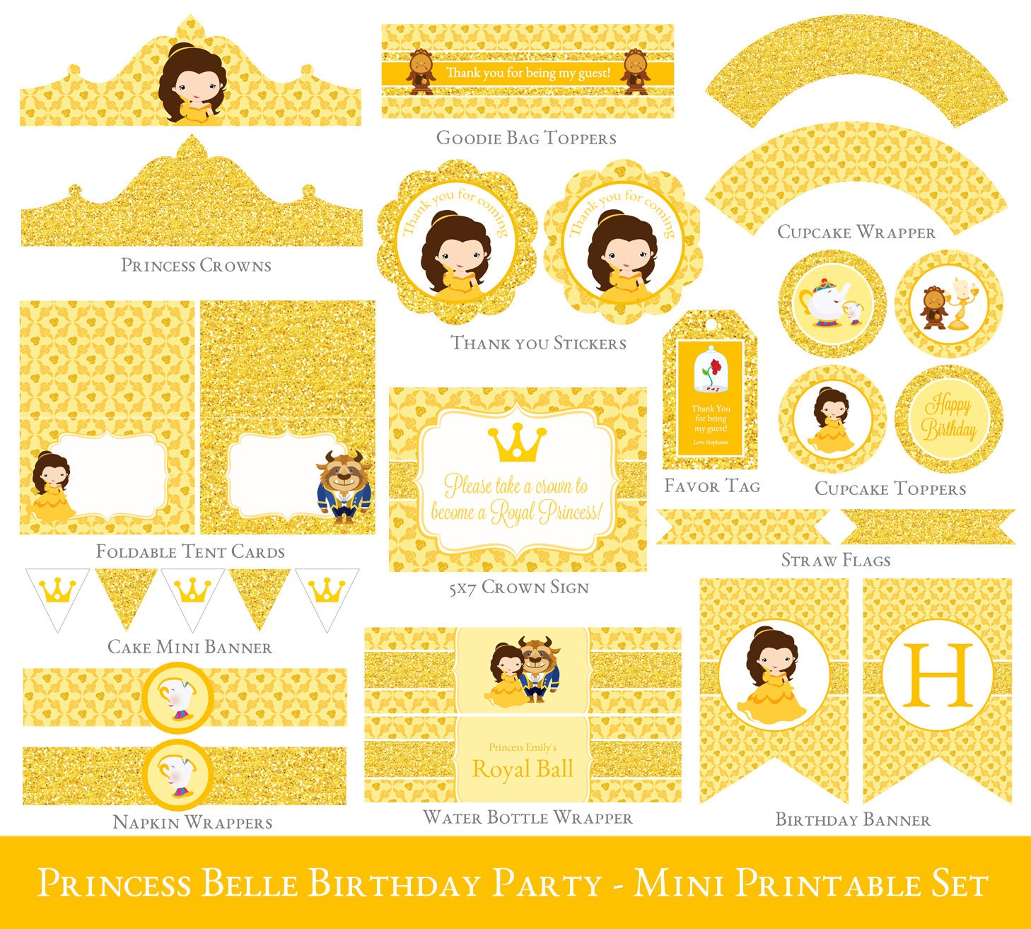 belle party mini set belle birthday party printables. Black Bedroom Furniture Sets. Home Design Ideas