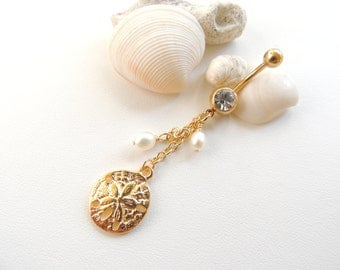 Gold Belly Buttun Ring, Sand Dollar Belly Ring, Pearl Navel Ring, Navel Piercing, Curved Barbell, Belly Button Jewelry, Gift Idea. 325