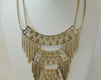 Gold Chain Necklace with Crystal Clear Stones / Statement Necklace / Bib Necklace / Bridesmaid Necklace.