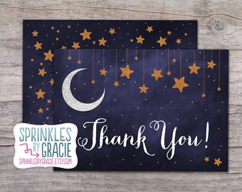 Instant Download Printable Starry Night Thank You Cards PDF